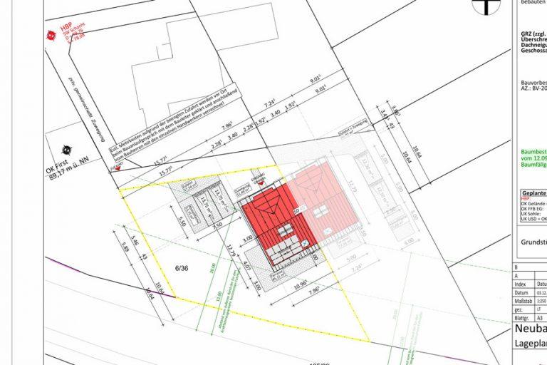 Der Lageplan mit unserem Doppelhaus, Carport, Terrasse und Zuwegen.