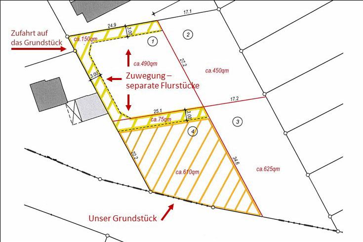 Lageplan mit Zuwegen. Unser Grundstück ist gelb gestrichelt.