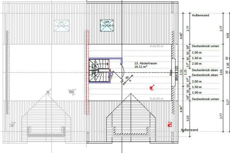 Spitzboden: 16,11 m²